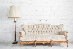 Sofa with lamp. Vintage classical style Sofa bed with lamp Royalty Free Stock Image