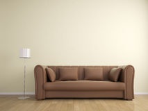 Sofa and lamp wall beige color, interior Stock Photos