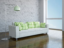 Sofa and lamp. White sofa with green pillows in the room Royalty Free Stock Photo