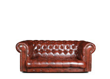 Sofa. Large and comfortable brown leather sofa in classic style Stock Images