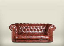 Sofa. Large and comfortable brown leather sofa in classic style Royalty Free Stock Photos