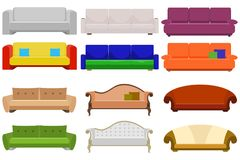 Sofa, a large set of sofas. Cushioned furniture. Flat design,  illustration Royalty Free Stock Photography