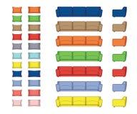 Sofa-Lehnsessel-Kissen eingestellt Vordere, Seitenansicht Wiedergabe 3D Büroräume Rose Quartz, Pfirsich-Echo, Ruhe, schnorcheln B Lizenzfreies Stockfoto