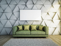 Sofa in living room. With concrete wall 3D illustration Royalty Free Stock Photos