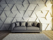 Sofa in living room. With concrete wall 3D illustration Stock Photos
