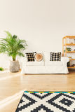 Sofa in living room. White elegant sofa with original pillows in stylish bright decorated living room Stock Image