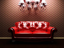 A sofa and a luster in the interoir Royalty Free Stock Images