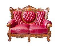 Sofa luxueux rouge sur le fond blanc Photo libre de droits