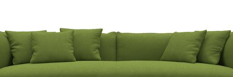 Sofa made of green fabric closeup Stock Photo