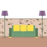 Sofa With Modern Lamp On Brick Background Stock Photos