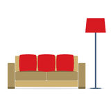 Sofa With Modern Lamp On White Background Royalty Free Stock Image