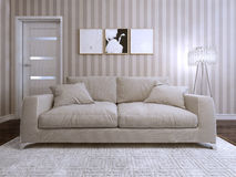 Sofa modern style upholstered Stock Photo
