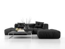 Sofa moderne d'isolement sur le rendu blanc du fond 3D Image libre de droits