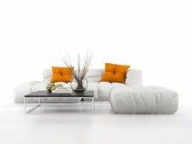 Sofa moderne d'isolement sur le rendu blanc du fond 3D Photographie stock libre de droits