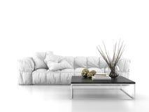 Sofa moderne d'isolement sur le rendu blanc du fond 3D Photos libres de droits