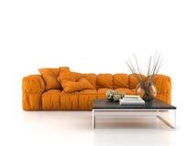 Sofa moderne d'isolement sur le rendu blanc du fond 3D Photographie stock