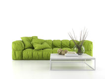 Sofa moderne d'isolement sur le rendu blanc du fond 3D Images stock
