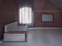 Sofa moderne dans la chambre, 3d Photo stock