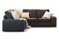 Sofa moderne de textile avec des oreillers d'or 3d rendent illustration libre de droits