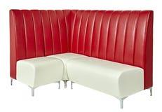 Sofa, moderne lederne rote Beige Stockbild