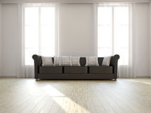 Sofa near the big windows Royalty Free Stock Photo