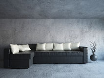 Sofa near the concrete wall. Sofa and plants near the concrete wall Royalty Free Stock Photography