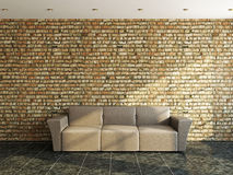 Sofa near a old wall. Sofa near a old brick wall Royalty Free Stock Image