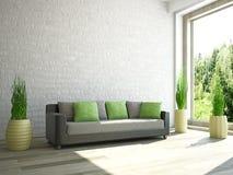 Sofa near the wall vector illustration
