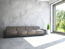 Sofa near the window. Sofa and plants near the window Stock Photography