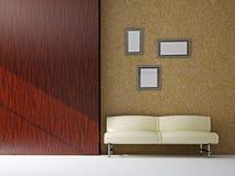 Sofa near the wooden wall Stock Photo