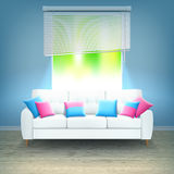 Sofa Neon Light Realistic Illustration interior Fotografía de archivo