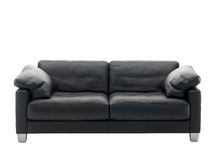 Sofa noir Photographie stock