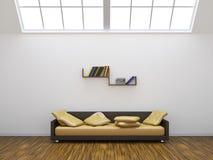 Sofa och en hylla royaltyfri illustrationer
