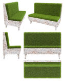 Sofa in old wood with grass cover. Garden furniture. Top view, side view, front view. Isolated on white background. 3D render. Royalty Free Stock Photos