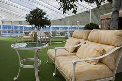 Sofa on open deck spa onboard of cruise ship Stock Photography