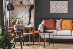 Patterned orange living room interior royalty free stock image