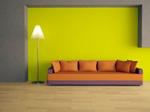 Sofa with orange pillows Royalty Free Stock Image