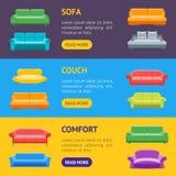 Sofa ou Divan Banner Horizontal Set de bande dessinée Vecteur Image stock