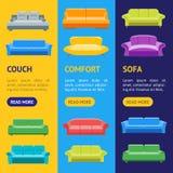 Sofa ou Divan Banner Vecrtical Set de bande dessinée Vecteur Illustration de Vecteur