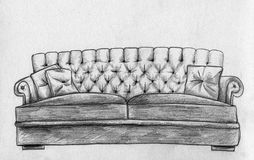Sofa - pencil sketch. Hand drawn sofa with soft cushions. Pencil drawing, sketch Stock Images