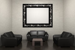 Sofa and picture frame. 3d render of room with sofa and picture frame Stock Images