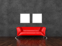 Sofa and pictures in an interior Royalty Free Stock Photos