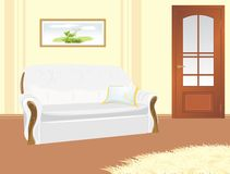 Sofa with pillow. Fragment of living room Royalty Free Stock Image