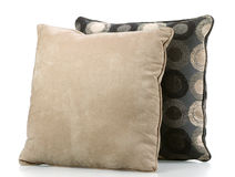 Sofa Pillows. Two sofa pillows covered in neutral fabrics Stock Images
