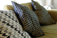Sofa pillows with beautiful graphic Royalty Free Stock Images