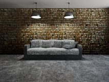 Sofa with pillows. Near a brick wall Stock Images