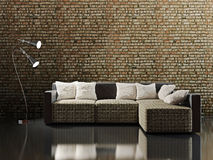 Sofa with pillows. Near a brick wall Royalty Free Stock Image