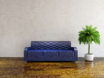 Sofa with pillows. Near the concrete wall Royalty Free Stock Image