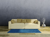Sofa with pillows. Near the old wall Royalty Free Stock Images