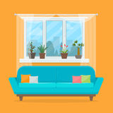 Sofa with pillows and window. With plants. Living room interior. Flat style vector illustration Stock Photos